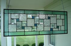 Stained Glass Panel Seafoam Green Window Transom by TheGlassShire, $160.00