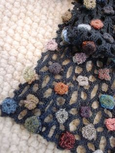 Sophie Digard----*DIY by crocheting an open-weave or lace; crochet small flowers and attach. Freeform Crochet, Crochet Art, Love Crochet, Crochet Shawl, Irish Crochet, Crochet Stitches, Crochet Small Flower, Crochet Flowers, Crochet Designs