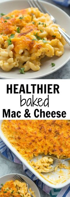 The kids LOVE this!!! This Healthier Baked Mac and Cheese is made with whole wheat pasta, low fat milk, and chicken broth but is just as creamy and cheese as ever! It's a great make ahead meal for those busy weeknights!