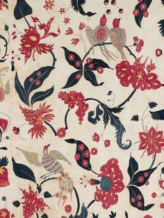 fabrics dyed with natural materials such as pomegranate and indigo - techniques which are having a revival today . . . Wall hanging (detail), cotton appliqué, Gujarat for the Western market, ca. 1700, Victoria and Albert Museum, London