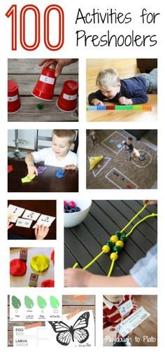 100 Activities for Preschoolers. {Playdough to Plato} 100 Activities for Preschoolers. {Playdough to Plato} Toddler Fun, Toddler Learning, Preschool Learning, Craft Activities For Kids, Educational Activities, Early Learning, Fun Learning, Learning Activities, Preschool Activities