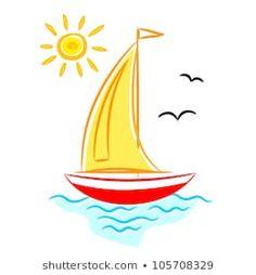 Sailboat on blue sea Boat Cartoon, Floating In Water, Drawing, Sailboat, Illustration, Stencils, Clip Art, Sea, Beautiful