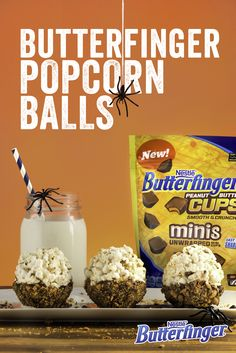 sweet and salty popcorn balls—dipped in melted Butterfinger Cups and chocolate, and then coated with crushed Butterfinger—are sure to deliciously haunt everyone's dreams at your Halloween party. Popcorn Recipes, Snack Recipes, Dessert Recipes, Popcorn Snacks, Fall Recipes, Sweet Recipes, Holiday Recipes, Just Desserts, Delicious Desserts