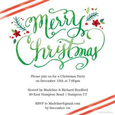 Christmas Party Invite Floral Stripes #christmas #invitation #floral