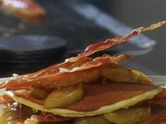 Ricotta Pancakes with Roasted Golden Delicious Apples and Roasted Prosciutto