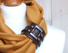 Infinity Circle Scarf Shawl Loop HONEYscarf with leather cuff clasp, amber infinity scarf, gift for girl. $29.90, via Etsy.
