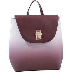 MKF Kendra Backpack - Wine - Backpack Handbags ($34) ❤ liked on Polyvore featuring bags, backpacks, red, faux leather flap backpack, vegan backpack, pocket backpack, flap backpack and wine backpack