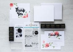 Altenew Thank You Stamping Kit| What's included in this kit: Daisy mini stamp set and Many Thanks stamp set | 50 blank Thank You cards and envelopes | 8 small ink pads in various colors to give you more creative freedom | Special online editor to help you design and print your stationery | Visit our website for more info. www.altenew.com