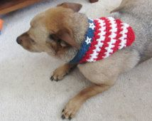 Dog Bandana Collar, Patriotic Red White and Blue, star embellishments, Crochet Dog Scarf, two button adjustable closure