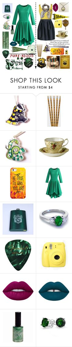 """Slytherin And Hufflepuff"" by cory-price ❤ liked on Polyvore featuring Cameo, Casetify, Chicwish, Blue Nile, Fujifilm, Lime Crime, Manic Panic NYC and Bling Jewelry"