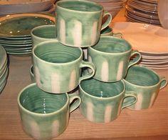 Ceramic Pottery Mugs | Green