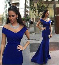 Elegante Azul Royal Prom Dress 2016 Mermaid Off-The-ombro decote em V Trem Da Varredura de manga curta festa à noite vestido vestido formal