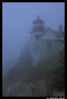 Bass Harbor, Maine lighthouse in morning fog  We saw it like this in 2007 with daughter & granddaughter.