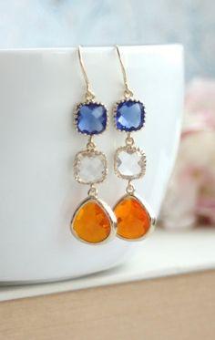 Orange, Tangerine, Cobalt Blue, Clear Glass Earrings. Bright Summer Glass Drop Dangle Long Earring. Bridesmaid Gift. Blue and Orange Wedding by Marolsha. https://www.etsy.com/listing/180450152/orange-tangerine-cobalt-blue-clear-glass?ref=shop_home_active_12&ga_search_query=orange