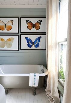 Those over-sized butterfly prints make quite a statement. (spotted on House of Turquoise ) Y. Simple Bathroom, Modern Bathroom, Bathroom Art, Bathroom Designs, Bathroom Ideas, Bathroom Colors, Bathroom Prints, Minimalist Bathroom, Downstairs Bathroom