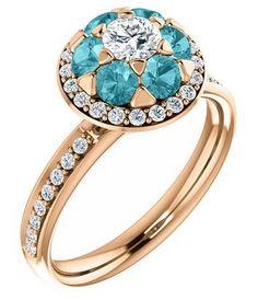 GIM Flex Round-cut Zircon & Diamond floral-inspired Ring