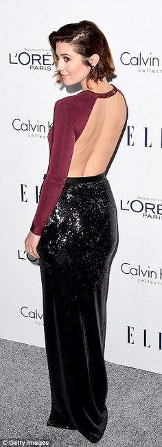 Showing off her look: Mary Elizabeth Winstead wowed in a backless dress with shimmering sk...