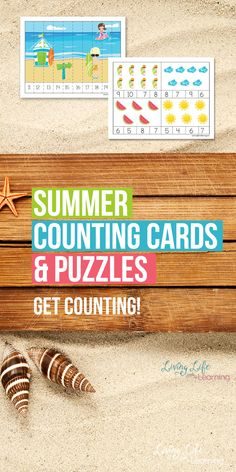 Have fun counting with these summer counting cards and puzzles, who said counting had to be boring? Keep learning over the summer and make it fun.