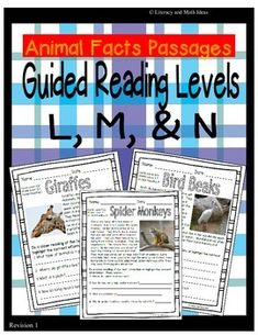 Even More Guided Reading Levels of Topical Practice) These leveled passages are a convenient way to teach students about animals. The document includes 15 reading passages. It contains:---(5 Passages) Guided Reading Level L (Lexile Levels 450-470)---(5 Passages) Guided Reading Level M (Lexile Level 500-535)---(5 Passages) Guided Reading Level N (Lexile Level 550-560 )An Answer Key is Also Included. $