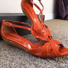 Patten Leather Orange Kitten Wedge Sandal