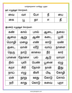 Free printable for kids (toddlers/preschoolers) flash cards/charts/worksheets/(file folder/busy bag/quiet time activities)(English/Tamil) to play and learn at home and classroom. Worksheet For Class 2, 2nd Grade Worksheets, Alphabet Worksheets, Preschool Worksheets, Matter Worksheets, Tracing Worksheets, Quiet Time Activities, Activities For Teens, Reading Words
