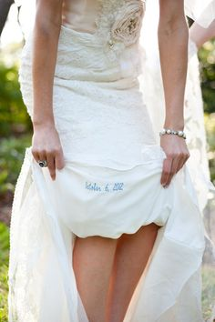 "Embroider your wedding date for your ""something blue."""