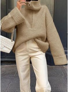 Jeans Outfit Winter, Winter Outfits, Winter Clothes, White Cropped Jacket, Wooly Bully, Jeans Jumpsuit, Affordable Clothes, Ribbed Sweater, Work Attire