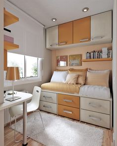 Fancy Small Space Bedrooms With Space-Saving Furniture : Orange and White Small Kids Bedroom Design with Cool Bed Six Drawers Underneath and...