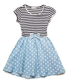 Another great find on #zulily! Navy & Denim Black Stripe & Polka Dot Blue Dress #zulilyfinds