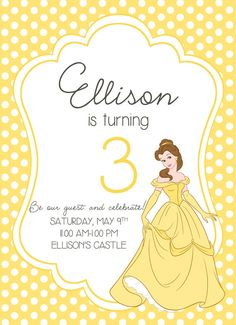 FREE Printable Beauty and the Beast Birthday Invitation Belle