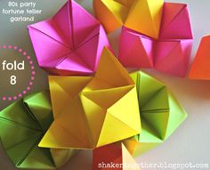 Hosting an 80s party? Then you, like, totally need to make this DIY 80s party fortune teller garland! Instructions on how to fold a fortune teller, too!