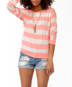 Heathered Striped Top | FOREVER 21 - 2030188003