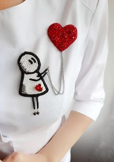 Love beaded broochgirl with balloon heart beaded brooch Bead Embroidery Patterns, Bead Embroidery Jewelry, Hand Embroidery Flowers, Fabric Jewelry, Hand Embroidery Designs, Beaded Embroidery, Handmade Beaded Jewelry, Brooches Handmade, Crystal Brooch