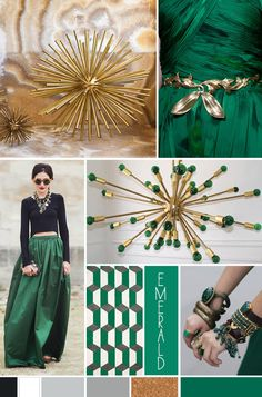 emerald inspiration bridal mood board, pantone colour of the year, contemporary emerald, emerald and gold