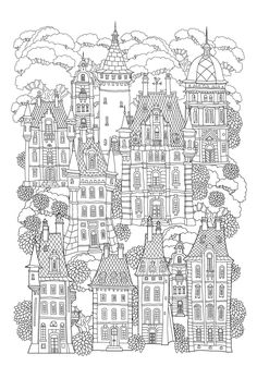 Find Fantasy Landscape Fairy Tale Castle Old stock images in HD and millions of other royalty-free stock photos, illustrations and vectors in the Shutterstock collection. House Colouring Pages, Cute Coloring Pages, Coloring For Kids, Adult Coloring Pages, Coloring Sheets, Coloring Books, House Doodle, Easy Doodle Art, Fairytale Castle