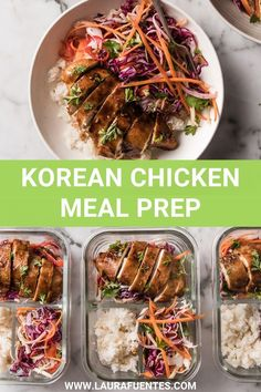 This healthy lunch meal prep features sweet-tangy Korean chicken with Jasmine rice and Asian slaw. Enjoy it for a meal at home or pack it for later! Slaw Recipes, Lunch Recipes, Chicken Recipes, Cooking Jasmine Rice, Korean Chicken, Asian Slaw, Chicken Meal Prep, Lunch Meal Prep, Quick Dinner Recipes