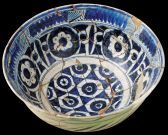 AD 14th –15th centuries, Early Ottoman Red paste with white slip and blue-and-white decoration, a type known as 'Miletus ware'