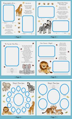 Baby's First Year Jungle Premade Scrapbook Pages make a unique keepsake and perfect gift. These 24 pages cover birth to One Year with beautifully added poems. #decampstudios http://www.etsy.com/shop/decampstudios