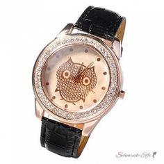 Damen Armbanduhr Strass Eule Rosegold schwarz