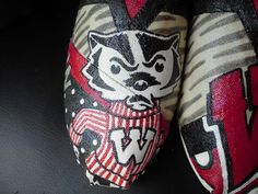 Wisconsin Badgers hand painted TOMS by MyHeartToYourSole on Etsy, $105.00