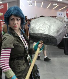 Ramona Flowers (Scott Pilgrim) - To make the giant hammer, start with a box then add paper mache to round out the edges. Spray paint silver and attach a broom stick!