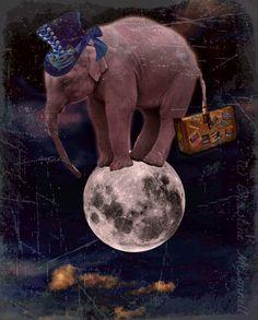 Elephant Moon Art Print Original Digital 5x7 Signed Mixed Media Collage Bon Voyage Going Away Present