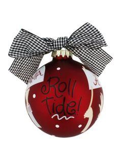 $14.50 University of Alabama Roll Tide Cheer Glass Keepsake Ornament with Gift Box