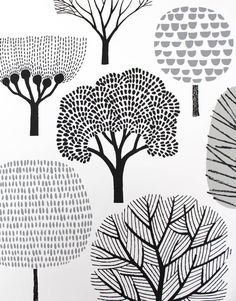 45 Ideas for screen printing poster illustration Art And Illustration, Pattern Illustration, Doodle Drawings, Doodle Art, Flower Drawings, Doodle Trees, Drawn Art, Painting & Drawing, Drawing Trees