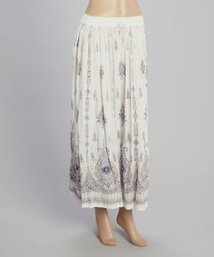 White & Purple Paisley Maxi Skirt #zulily #zulilyfinds