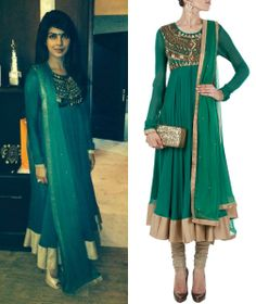 GET THIS LOOK: Priyanka Chopra poses in the color of the season, she looks gorgeous in the emerald aztec anarkali by Namrata Joshipura.