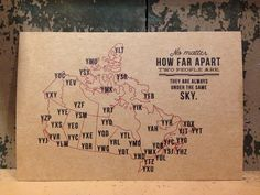 No matter how far apart two people are, they are always under the same sky.  This is the sweet testament behind our in-house designed postcards.  Bridge the gap between you and a loved one by drawing a line from you to them and then pop in the mail to brighten someone's day!Currently available in a Canada and United States version.  World version coming soon!