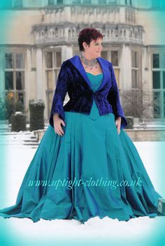 A curvaceous hourglass corset in Turquoise silk, with a embroidered bird emblem in purple , with applied Swarovski crystals. With the same full ball gown Turquoise silk skirt as Dragonfly queen, but this time finished of with a fitted and flattering purple velvet jacket with open collar. A simpler variation of some of the lovely victorian jackets that uptight have been doing over the years. Turquoise Wedding Dresses, Embroidered Bird, Velvet Jacket, Purple Velvet, Gorgeous Fabrics, Silk Skirt, Looking Stunning, Hourglass, Corsets