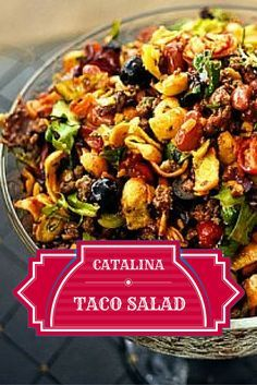 The BEST taco salad! Ground beef, sharp cheddar, red kidney beans, Fritos, Catalina dressing and more!