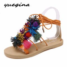 9d852b66eb0508 Yueqina women Boho Bohemian Gladiator Roman sandals shoes woman casual  Pompon tassel cross strap Ethnic flip